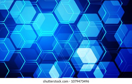 binary circuit board future technology, blue cyber security concept background, abstract hi speed digital internet.motion move blur. Hexagon honeycomb grid pixel vector