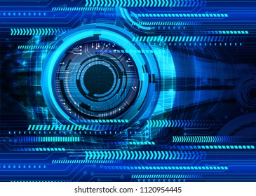 binary circuit board future technology, blue cyber security concept background, abstract hi speed digital internet.motion move blur. eye pixel vector