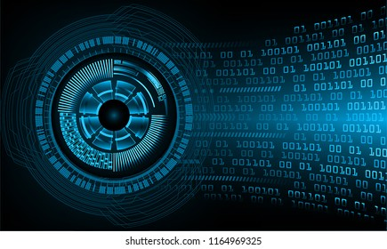 binary circuit board future technology, blue eye cyber security concept background, abstract hi speed digital internet.motion move blur. vector