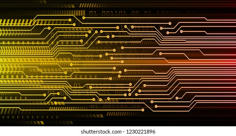 binary circuit board future technology, orange cyber security concept background, abstract hi speed digital internet.motion move blur. pixel vector