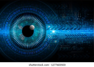 binary circuit board future technology, blue eye cyber security concept background, abstract hi speed digital internet. motion move blur. pixel vector