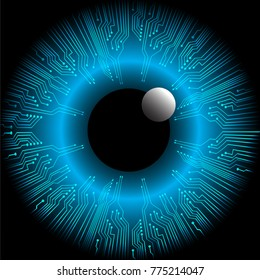 binary circuit board future technology. Blue Circle eye cyber security concept background. Abstract hi speed digital internet. vector