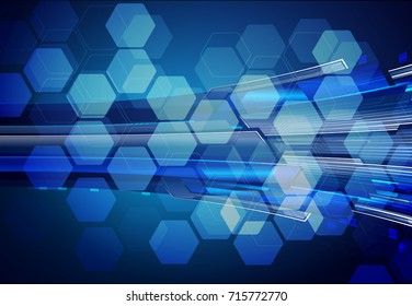 binary circuit future technology, blue cyber security concept background, abstract hi speed digital internet.motion move blur. pixel secure Hexagon, honeycomb