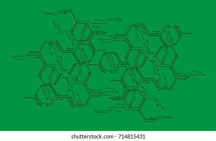 binary circuit future technology, Green cyber security concept background, abstract hi speed digital internet.motion move blur. pixel vector