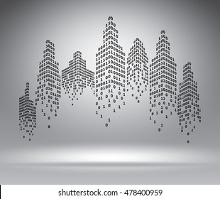 Binary city on grey, vector illustration template for advertising