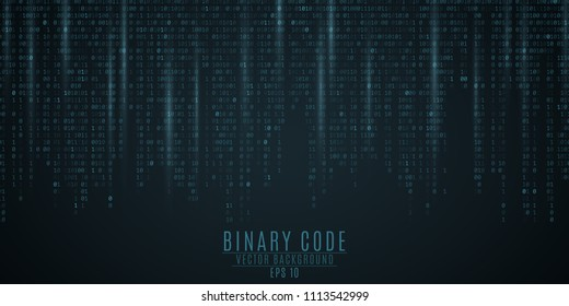 Binary code background. Blue glow. Falling figures. Blurring of figures in motion. Global network. High technologies, programming, sci-fi. Vector illustration EPS 10