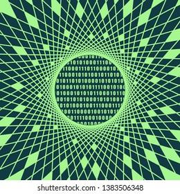Binary code background with digits on screen. Algorithm binary, data code, decryption and encoding, row matrix. Geometry mosaic frame