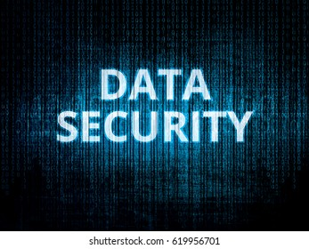 Binary code in background, encrypted data protected by security system and text Data security