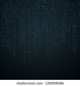 Binary code background. Falling blue glowing numbers. Global network. High technologies, programming, sci-fi. Hacking system. Vector illustration. EPS 10