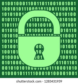 Binary code background with lock icon. Algorithm binary, data code, decryption and encoding, row matrix. Cyber security concept.