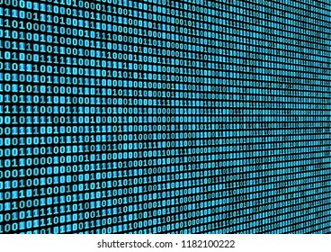 Binary code background. Technology concept. 3d backdrop with numbers. Running process of the program. Vector
