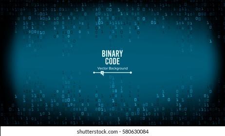 Binary Code Background Vector. Algorithm Binary, Data Code, Decryption And Encoding, Row Matrix