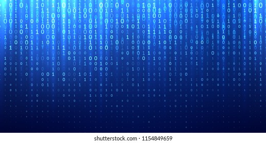 Binary code blue abstract background. Vector bit 1 and 0 digits fall in sparkling cyberspace matrix