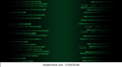 Binary code digital numbers.technology and digital green background. vector.