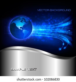 Binary code flowing behind the globe.  Concept of global programming. Vector background.
