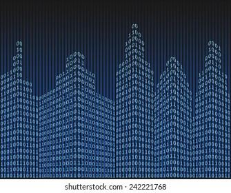 Binary code in form of futuristic city skyline, vector illustration
