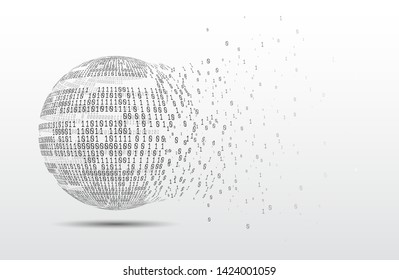 Binary code globe. Technology planet. Big data. Global network. Artificial intelligence. From chaos to system.