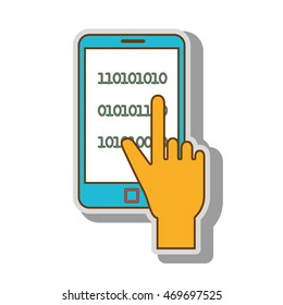 binary code smartphone programming system hand finger touching vector  illustration isolated