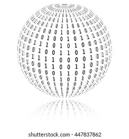 Binary code in sphere form. Vector illustration