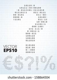 Binary code symbols: dollars, question, exclamation, euro, percent