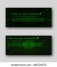 Binary code, technological style of retro computers. 2 templates for flyers, web or banners. Abstract background technology future concept. Futuristic Glare and information lines. Vector illustration.