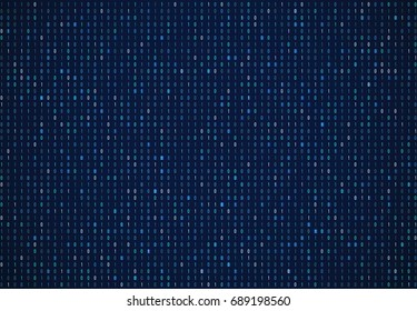 Binary code technology abstract background. Internet security, data encryption, computer dark blue wallpaper. Cryptographic, cryptocurrency.
