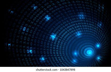Binary code tunnel, vector background