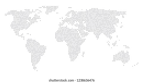Binary code world map made of ones and zeros