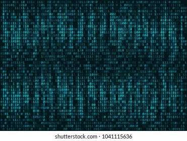 Binary computer code. Abstract technology background. Vector illustration.