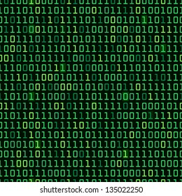 Binary computer code repeating vector background illustration. Continuous pattern left, right, up and down