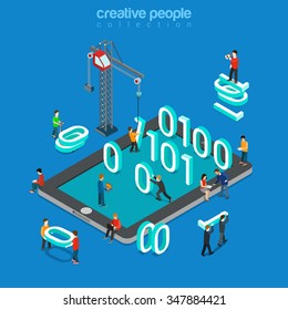 Binary data zero one flat 3d isometry isometric abstract concept web vector illustration. Low level assembler driver code programming. People standing 0 and 1 on tablet. Creative mobile app collection