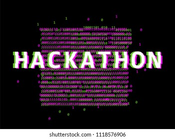 Binary glitched neon code on dark background. Hackathon event template.