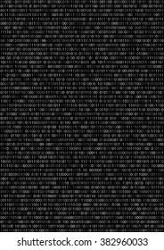 Binary machine code, computer program listing.  Vertical vector a4 background