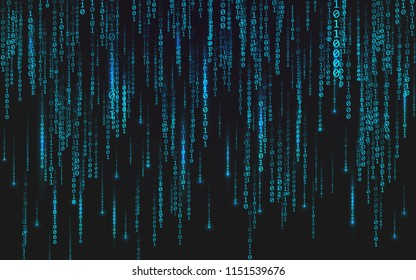 Binary matrix background. Falling digits on dark backdrop. Running random numbers. Abstract data concept. Blue futuristic cyberspace. Vector illustration.