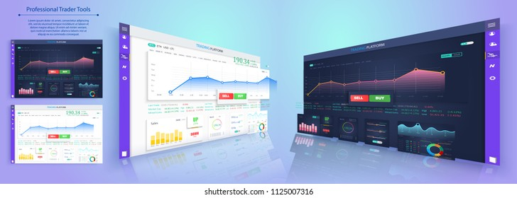 Binary option. All situation on market: Put Call, Win Lost deal. Futuristic user interface. Infographic elements. Abstract virtual graphic touch 3D UI for business app.Screen monitor set web elements
