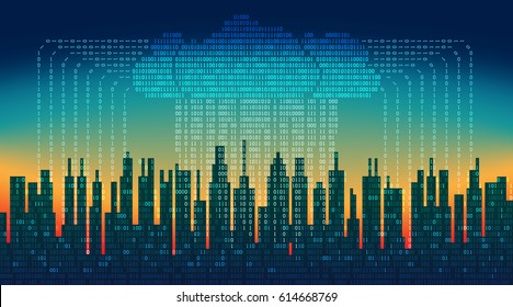 Binary rain in digital abstract city, the flow of data with the cloud, high-tech background,  concept of global networking technologies