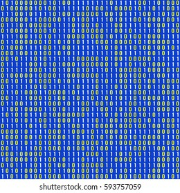 Binary seamless pattern. Repeating texture of the binary code. Vector illustration of computer data from zero and one on a blue background