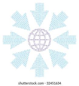 Binary word with globe, binary code, and arrows