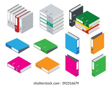 Binder blank file folder. Office Folder File. Composition Isolated on White Background. Flat 3d isometric vector illustration.