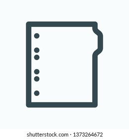 Binder dividers outline icon, ring binder dividers isolated vector icon