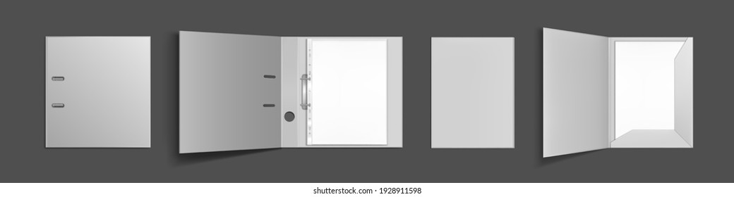 Binder folder with files in plastic punched pockets and ringbinder top view mockup. Closed and open portfolio with blank sheets for documents isolated on grey background. Realistic 3d vector mock up