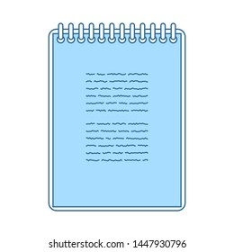 Binder Notebook Icon. Thin Line With Blue Fill Design. Vector Illustration.