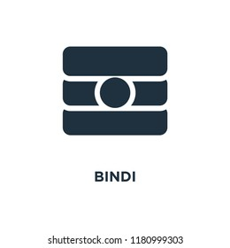 Bindi icon. Black filled vector illustration. Bindi symbol on white background. Can be used in web and mobile.