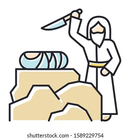 Binding of Isaac color icon. Hebrew Bible story. Abraham sacrificing son on Moriah altar. Christian religion, holy book scene plot. Biblical narrative. Isolated vector illustration