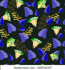 Bindweed.Light flowers of bindweed on dark brown background.Purple leaves and grass.Seamless vector pattern.For printed materials and textiles.