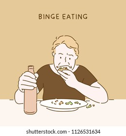 binge eating man character hand drawn style vector design illustrations.