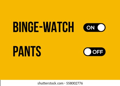 binge watching without pants concept. vector typography creative design for bloggers and social media. minimal style