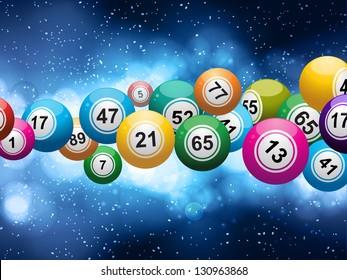 Bingo Ball Burst on a Glowing Blue Background