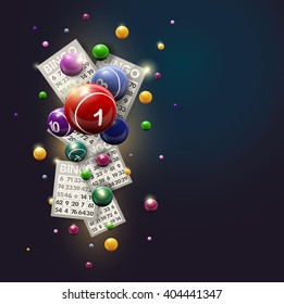 Bingo Balls and Cards Design on a Glowing Blue Background are flying on shiny background. Vector design.