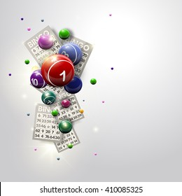 Bingo Balls and Cards Design on a Glowing White Background. Abstract illustration background for casino designs.